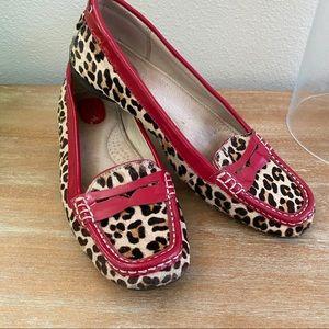 Sperry Hayden Loafers Leopard Calf Hair Red Trim